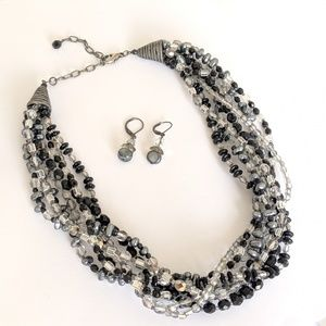 Jewelry - Beaded black/gray multistrand necklace earring set